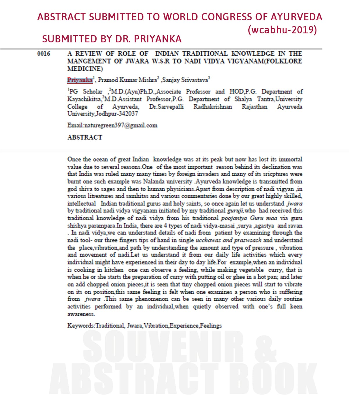 Dr Priyanka Abstract on Jwara AMCT